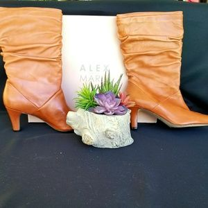 NIB Alex Marie Tan Leather Slouch Boots Size 9.5M